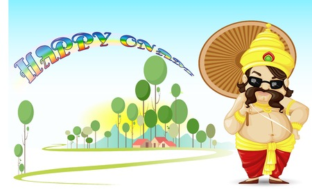vector illustration of King Mahabali wishing Happy Onam Stock Vector - 22720752