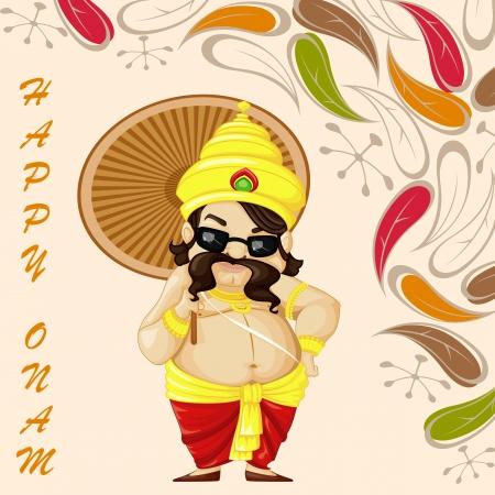 vector illustration of King Mahabali wishing Happy Onam Stock Vector - 22725080