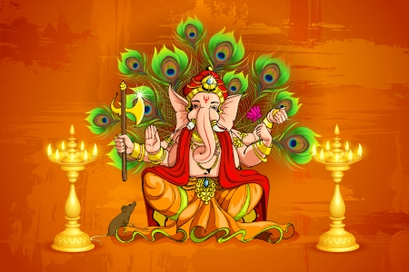 vector illustration of Lord Ganesha with diya