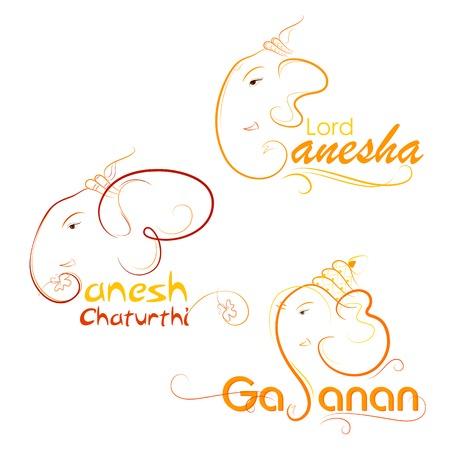 ganesh: ilustración vectorial de señor Ganesha en el fondo abstracto