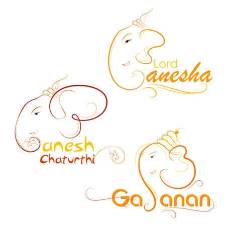 indian animal: vector illustration of Lord Ganesha on abstract background