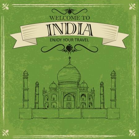 mausoleum: vector illustration of Taj Mahal of India Illustration