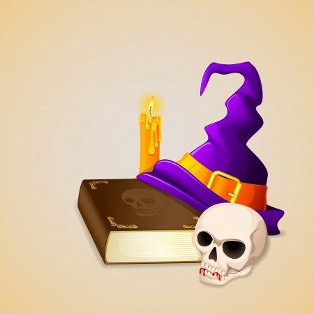 bewitchment: vector illustration of Witch Hat on antique book with skull