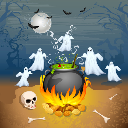 illustration of ghost from cauldron in Halloween Background Stock Vector - 22725095