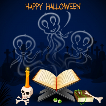bewitchment: vector illustration of Halloween ghost coming out of book