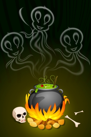 illustration of ghost from cauldron in Halloween Background Stock Vector - 22725100