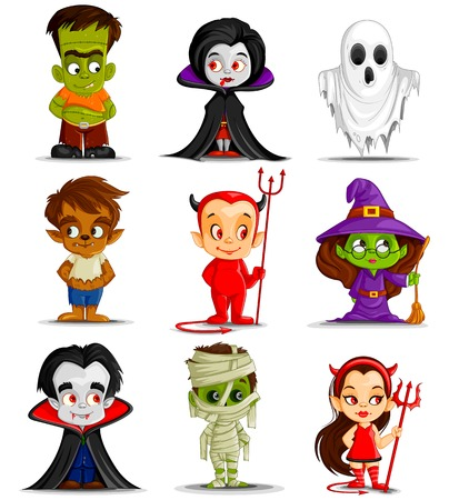 halloween cartoon: vector illustration of Halloween monster costume