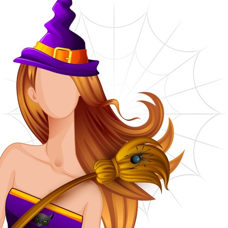 fairytale character: vector illustration of Halloween Witch with Broomstick