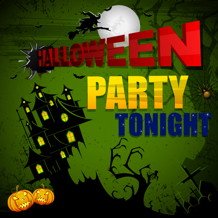 illustration editable: vector illustration of Halloween Party poster with haunted house Illustration