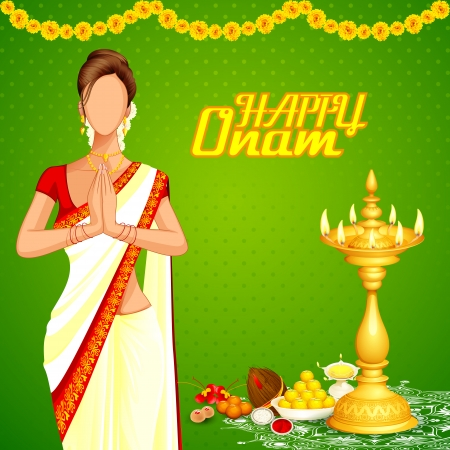 onam: vector illustration of lady wishing happy Onam