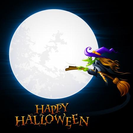 vector illustratie van Halloween heks vliegend in de buurt van de maan