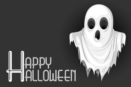vector illustration of cute monster wishing Happy Halloween Vector