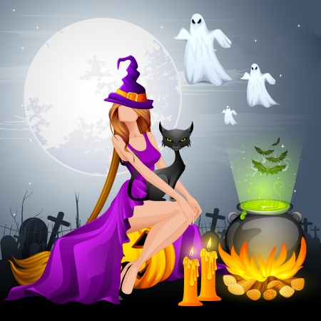 wicked witch: illustration of Halloween Witch preparing Poison in Cauldron