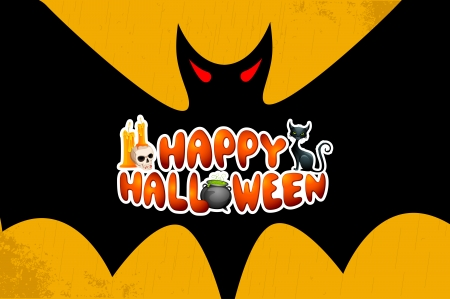vector illustration of Halloween Greetings in bats wings Stock Vector - 22725171