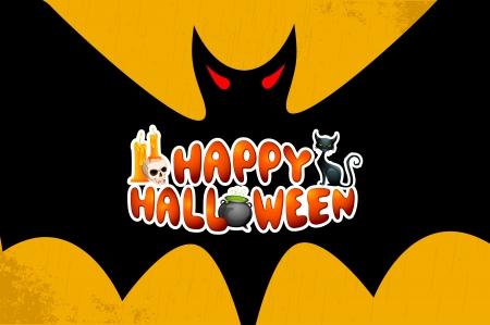 halloween greetings: vector illustration of Halloween Greetings in bats wings