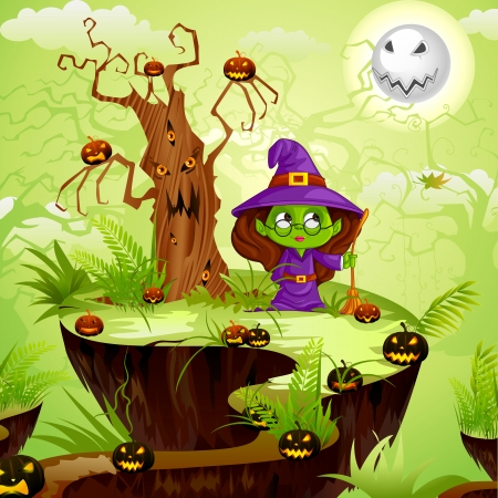 vector illustration of witch in Halloween land Vector