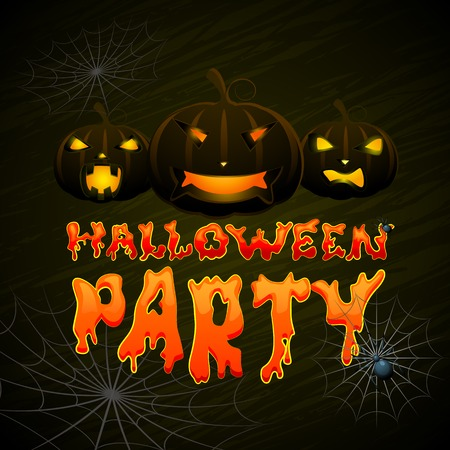 vector illustration of glowing pumpkin Halloween night Vector