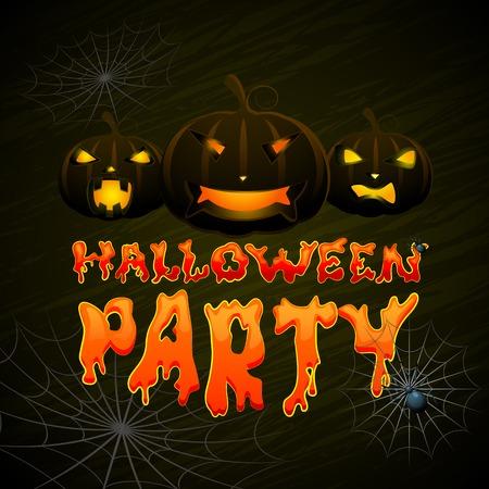 halloween greetings: vector illustration of glowing pumpkin Halloween night Illustration