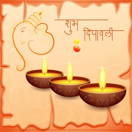 vector illustration of Happy Diwali with diya and Ganesha Vector