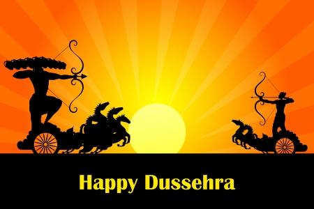 dussehra: vector illustration of Rama killing Ravana in Dussehra Illustration