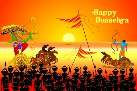 vector illustratie van Rama doden Ravana in Dussehra