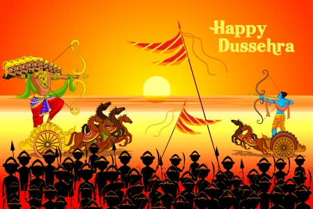 indian festival: vector illustration of Rama killing Ravana in Dussehra Illustration