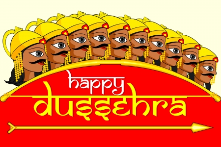 dussehra: vector illustration of Ravana in Happy Dussehra