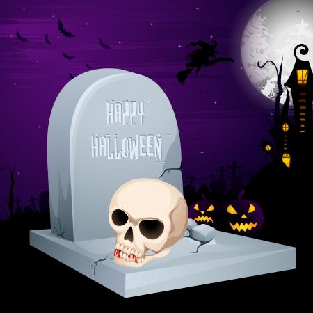 illustration of Jack-o-lantern on grave in Halloween night Illustration