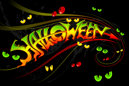 vector illustration of Halloween Background with gostly eye Vector