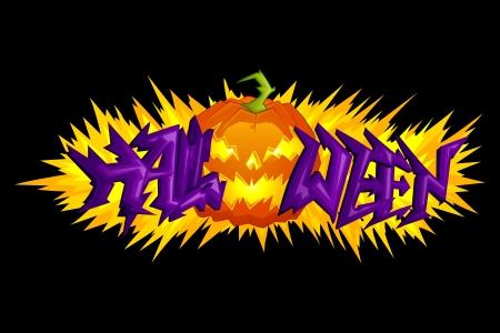 halloween greetings: vector illustration of Halloween blast with Pumpkin