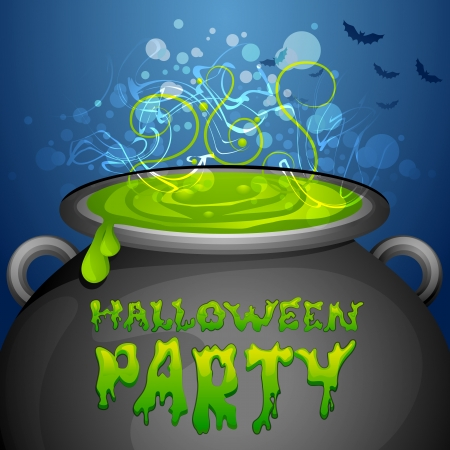 vector illustration of Halloween Party on cauldron Stock Vector - 22725253