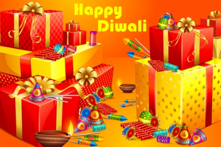 vector illustration of gift and firecracker for Diwali Vector