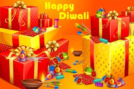 hamper: vector illustration of gift and firecracker for Diwali
