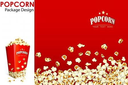 vector illustratie van afdruklayout voor popcorn emmer