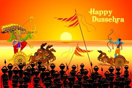 vector illustration of Rama killing Ravana in Happy Dussehra Vector