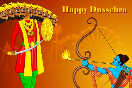 rama: vector illustration of Rama killing Ravana in Happy Dussehra