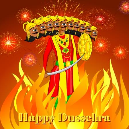 ravana: vector illustration of Ravana burning in Dussehre