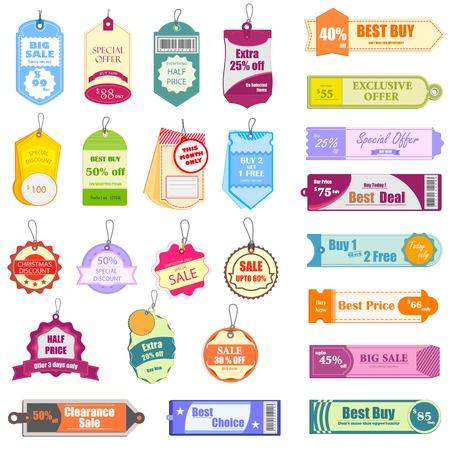 vector illustratie van de set van kleurrijke verkoop en promotie Tag