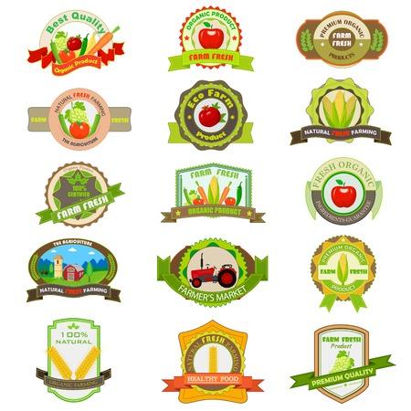 vector illustratie van de biologische boerderij product etiketten en labels Stock Illustratie