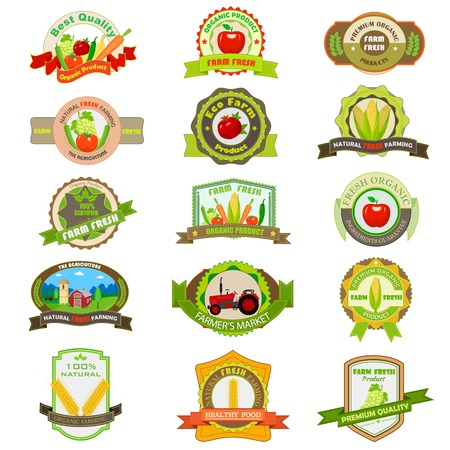 vector illustration of organic farm product tag and label