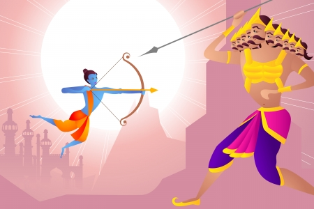 vector illustration of Rama killing Ravana in Happy Dussehra