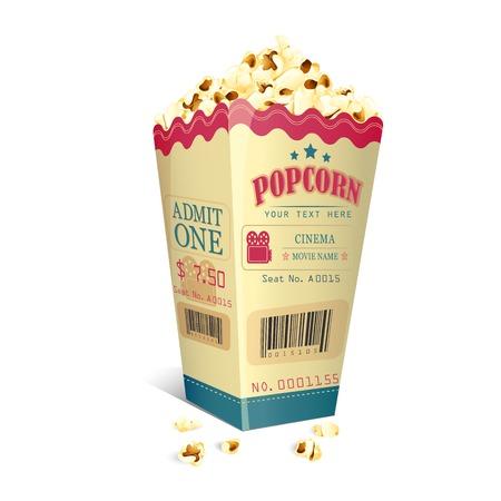 映画のチケットのベクトル イラストのポップコーンの箱に印刷