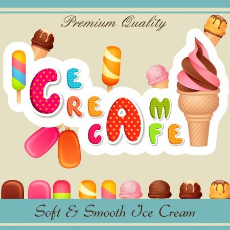 cono de helado: ilustraci�n vectorial de dise�o de cartel Helado Vectores