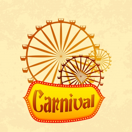 thrill: vector illustration of giant wheel in retro carnival poster
