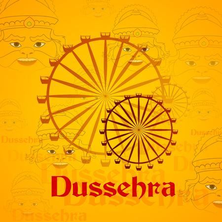 dussehra: vector illustration of giant wheel in Dussehra mela with Ravana Illustration