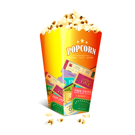 buttery: vector illustration of Movie Ticket printed on Popcorn box