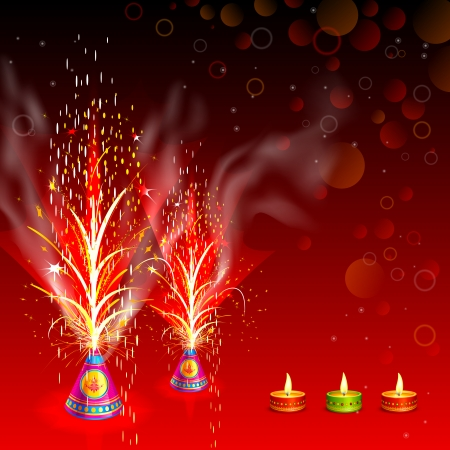 vector illustration of burning firecracker in Happy Diwali Vector