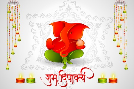 vector illustration of Lord Ganesha with Happy Diwali messgae Vector
