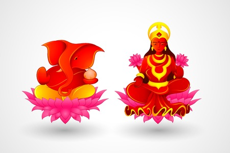 hinduism: illustration of Goddess Lakshmi and Lord Ganesha in Diwali
