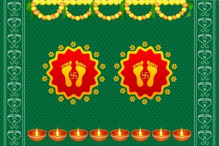 divinit�: vector illustration d'empreintes de pas de la d�esse Lakshami sur Diwali Illustration